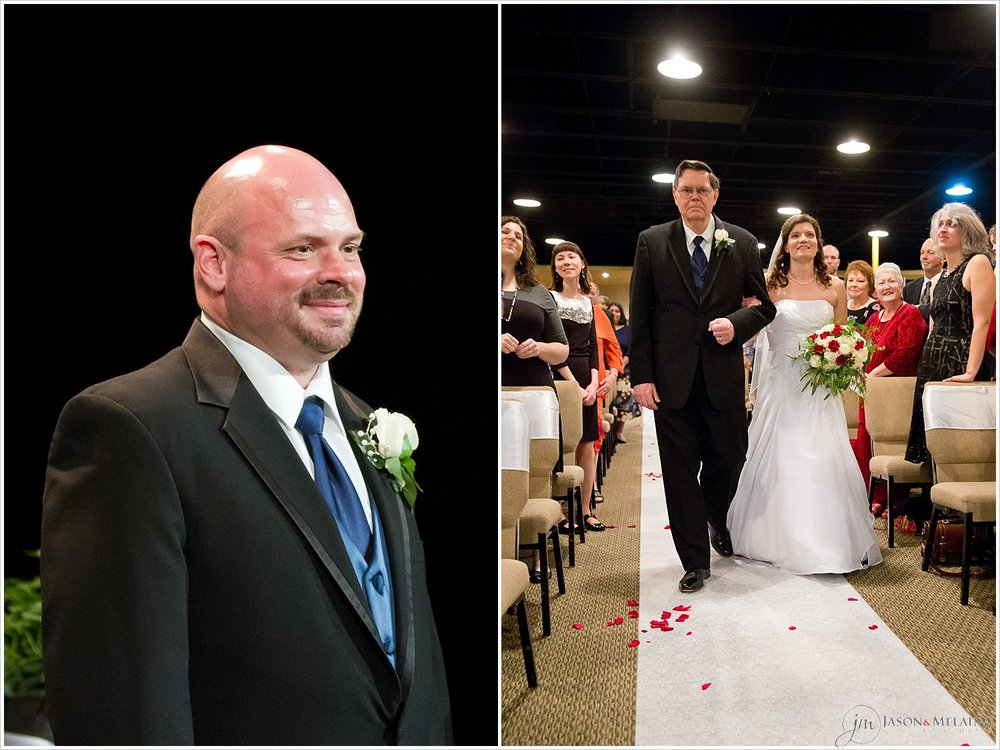 Groom smiles at bride as she walks down the aisle, Antioch Community Church, Waco, Texas