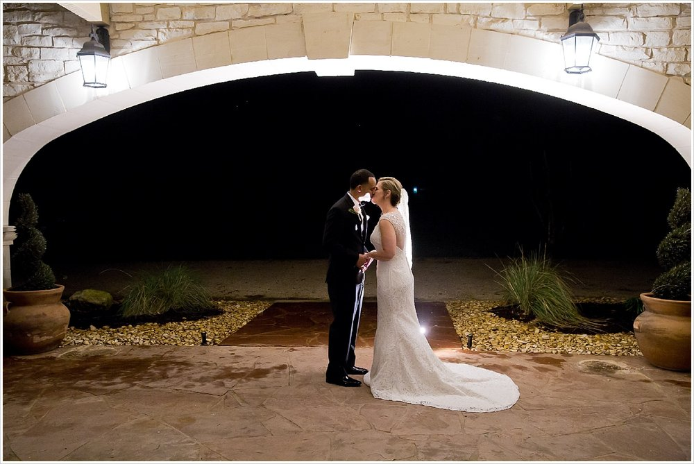 Bride and Groom kiss after wedding at La Rio Mansion