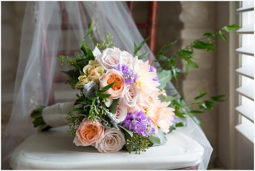 Brides bouquet by HEB Florist for spring wedding at La Rio Mansion