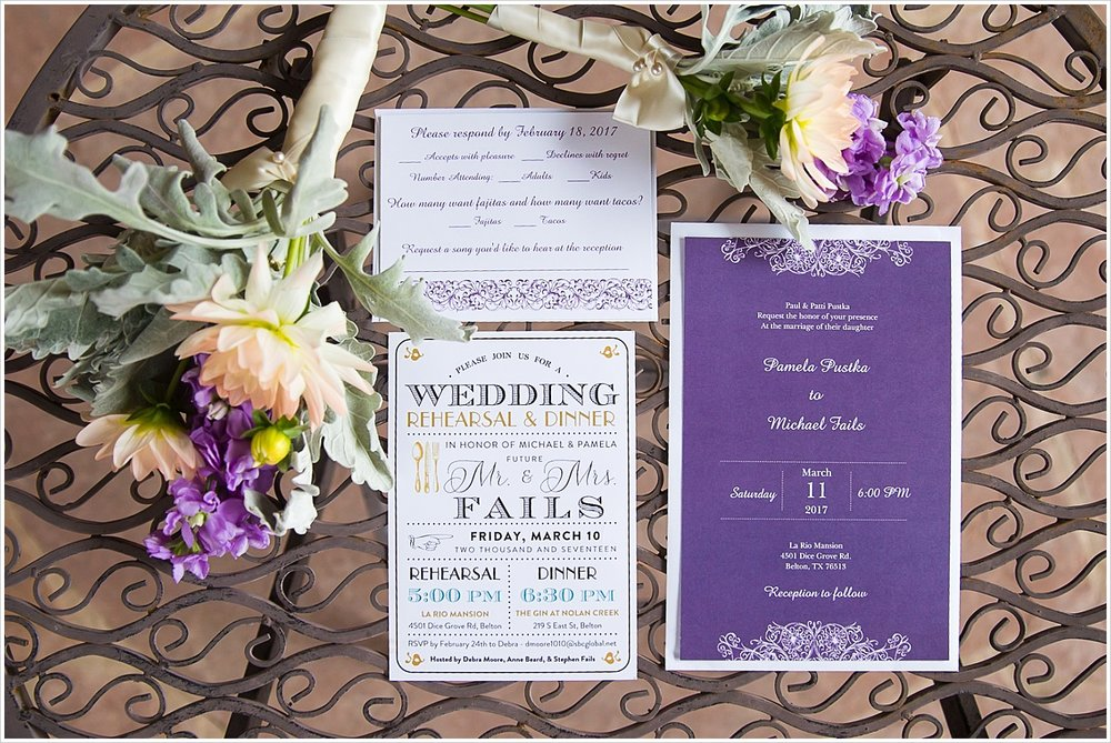 Purple and white wedding invitation suite