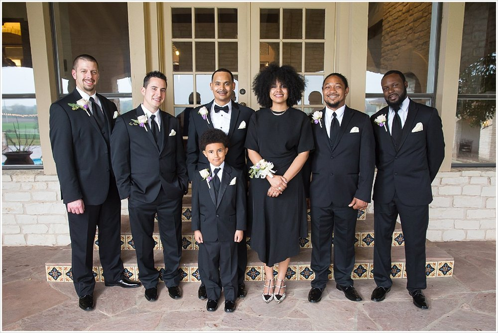 Groom with groomsmen at La Rio Mansion