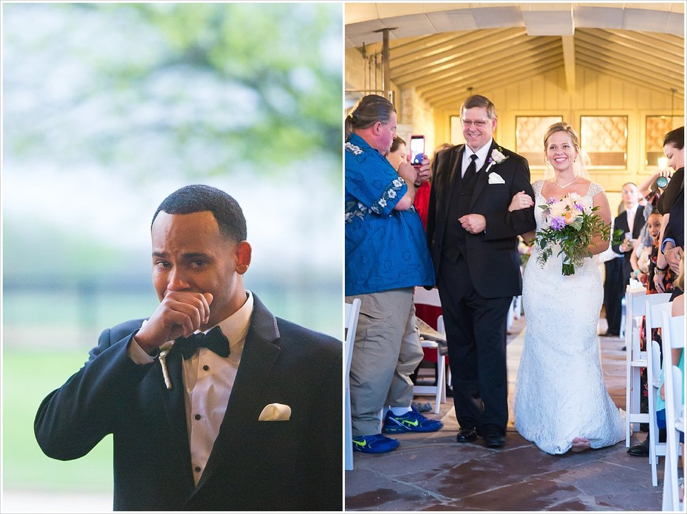 Groom cries seeing his bride come down the aisle at La Rio Mansion
