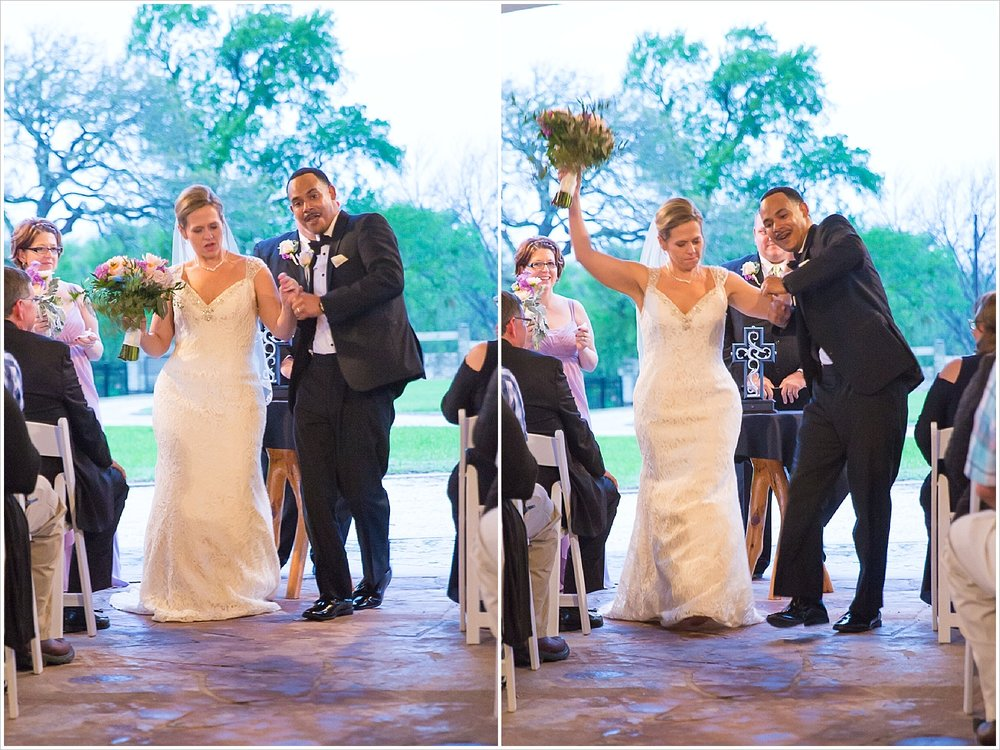 Bride and groom dance up the aisle as husband and wife