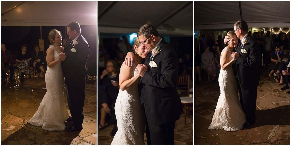 Emotional Father and daughter dance at wedding reception at La Rio Mansion