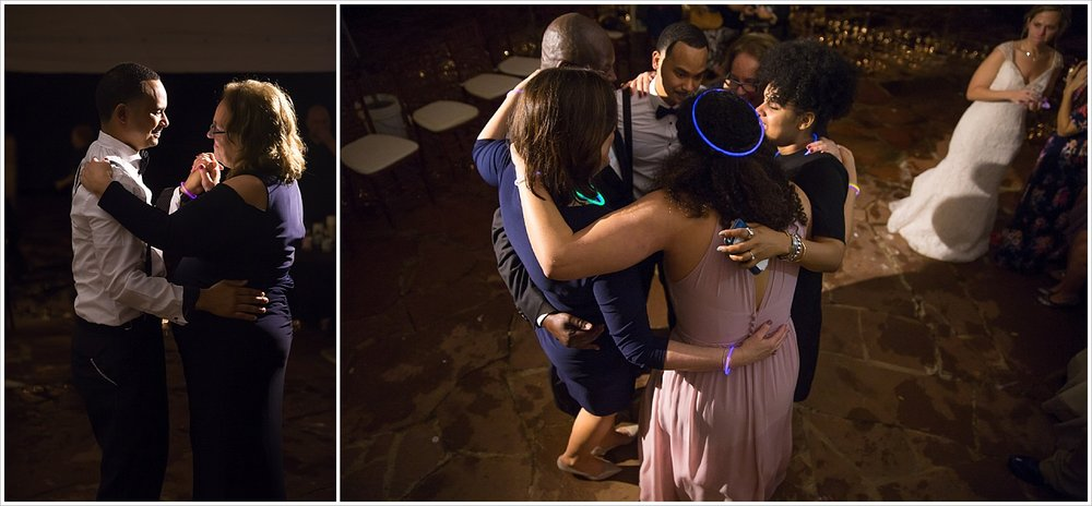 Groom dances with his mother and then his whole family during reception at La Rio Mansion