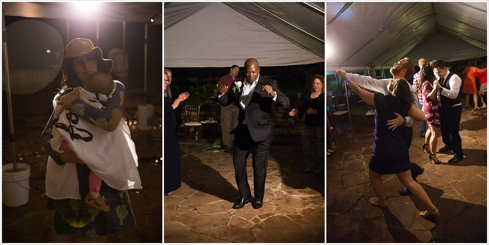 Guests dance under tents at rainy reception at La Rio Mansion