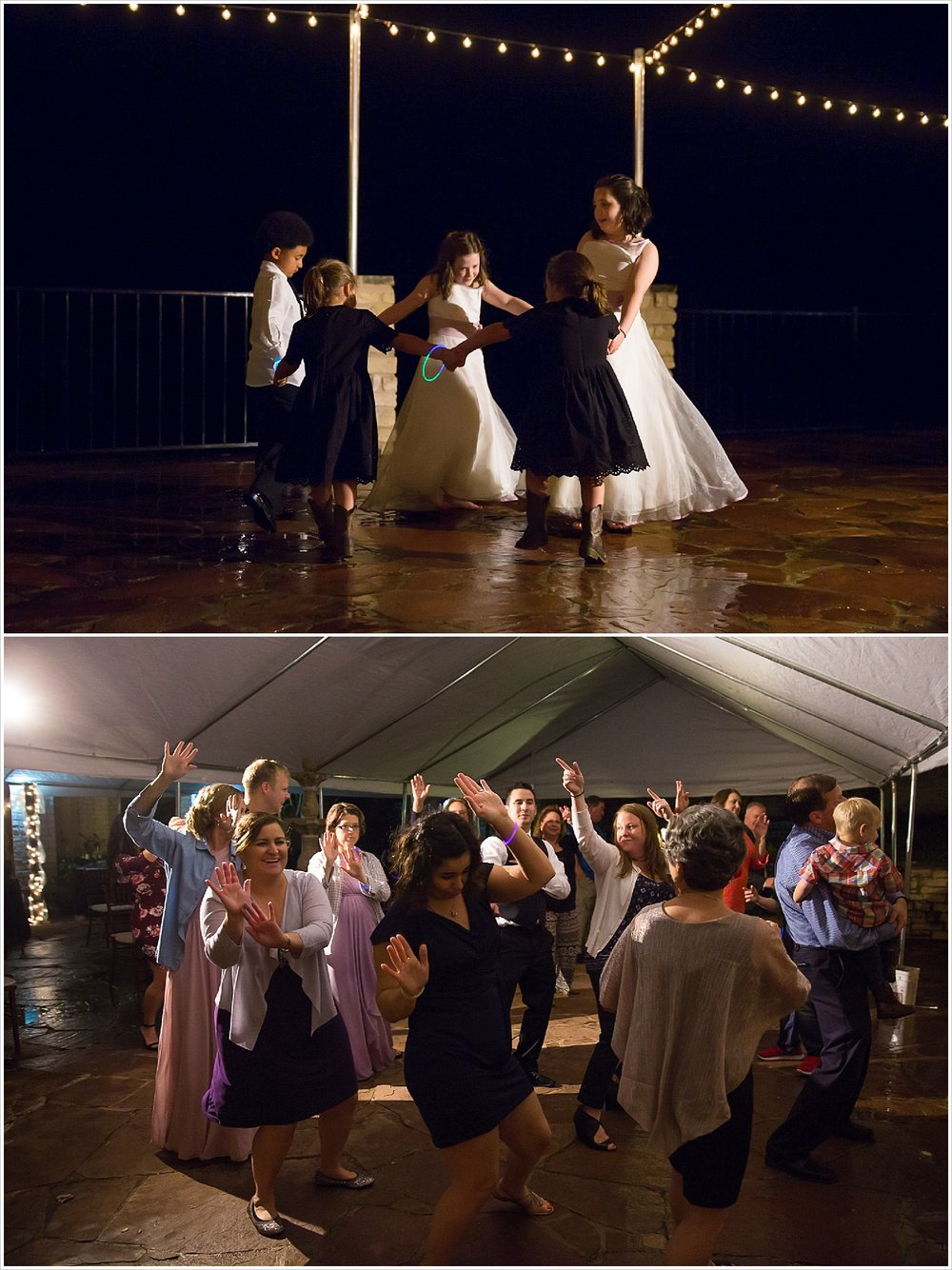 Children dance in the rain at wedding reception at La Rio Mansion