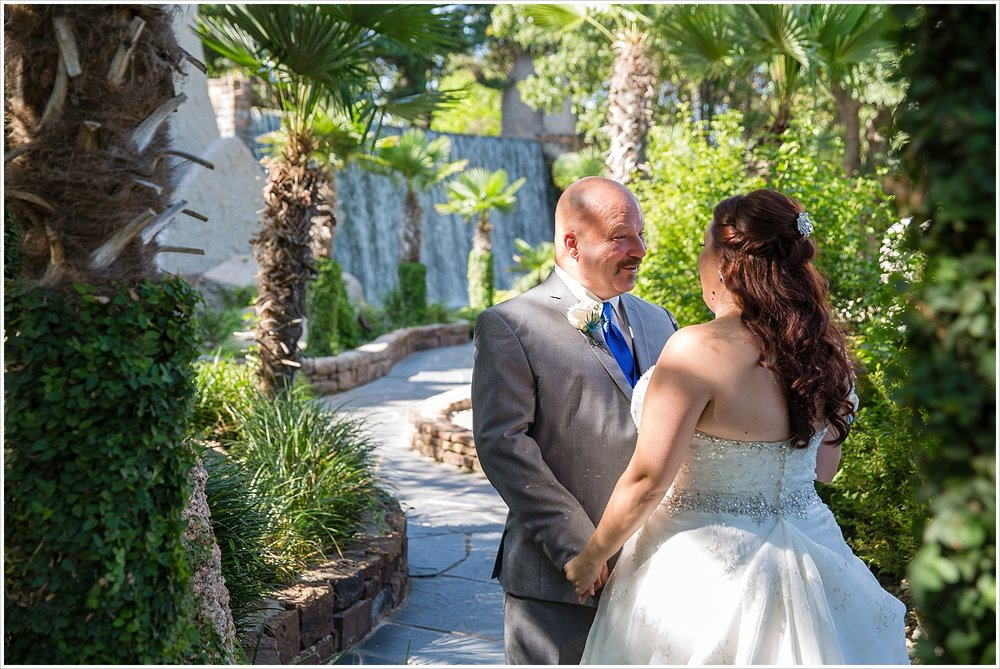A bride and groom talk together during their first look, Horseshoe Bay Resort, Texas