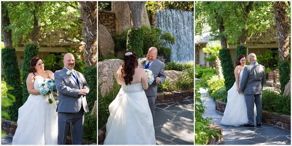 A bride and groom's first look on their wedding day, Horseshoe Bay Resort, Texas