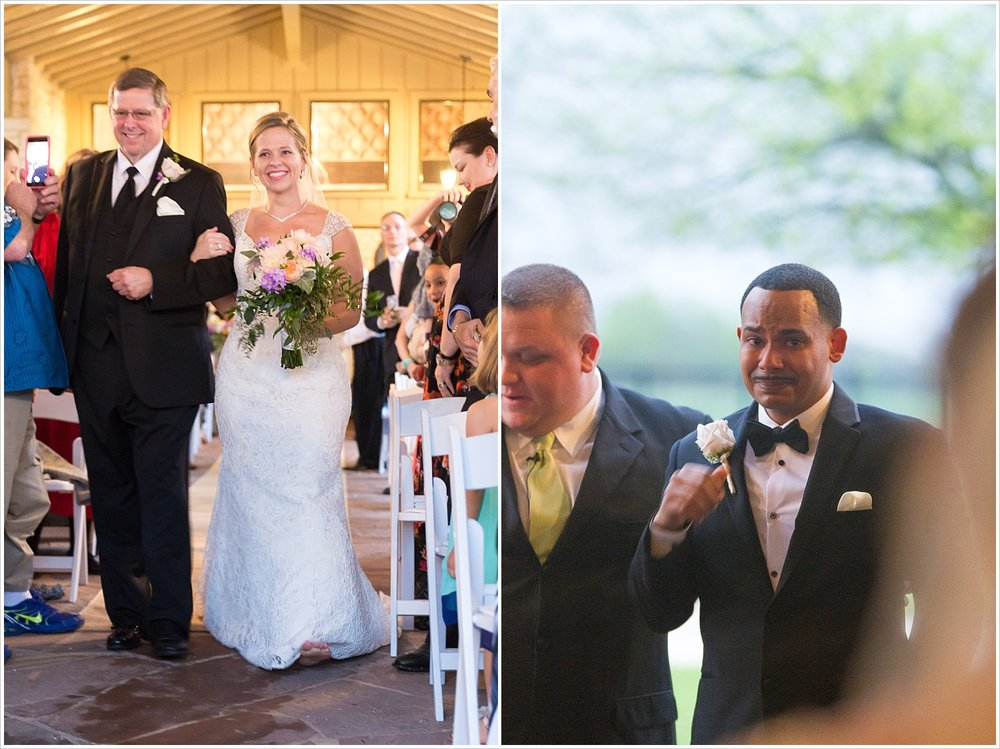 A groom cries when he sees his bride walking down the aisle, La Rio Mansion, Belton, Texas