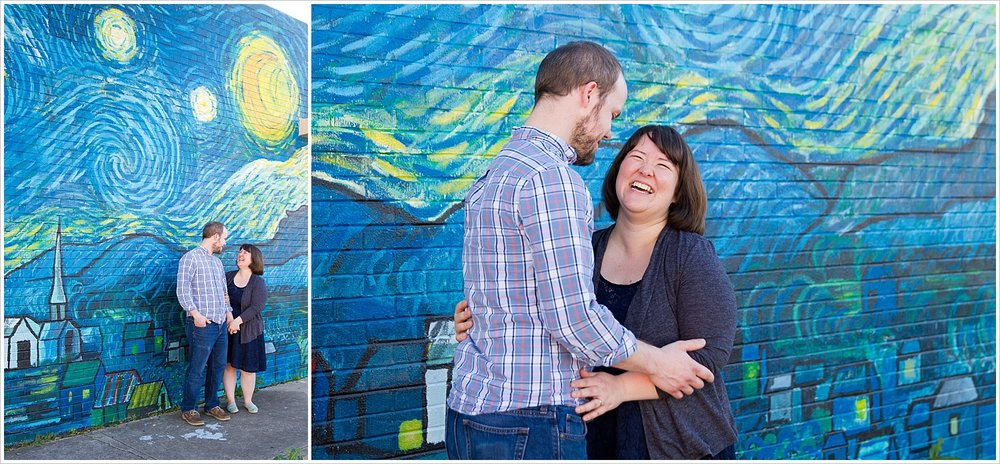Husband and wife laugh in front of Starry Night mural in downtown Waco