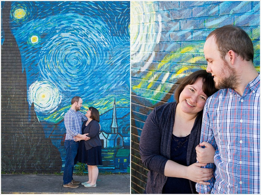Wife puts head on husband's shoulder in front of Starry Night mural in downtown Waco