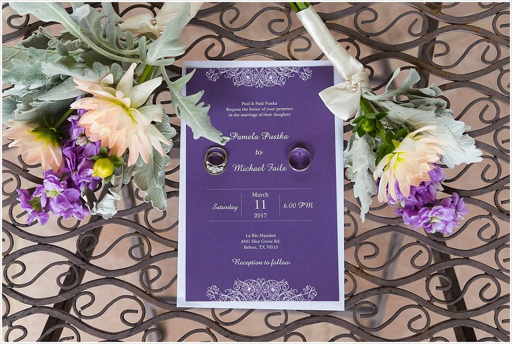 Purple wedding invitation suite