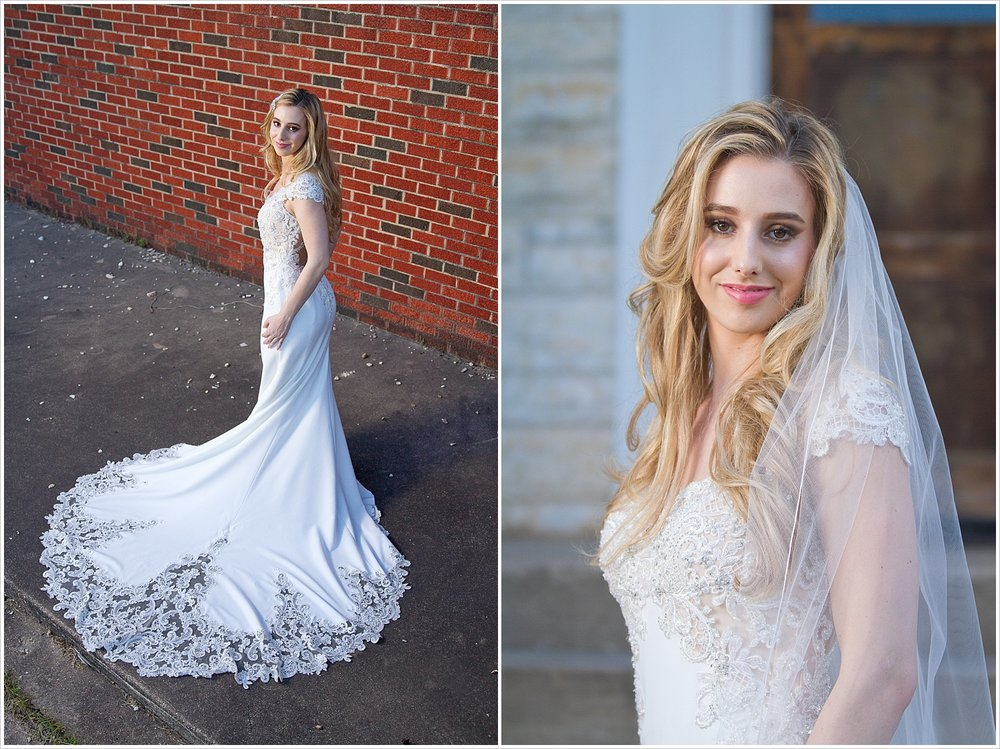 Model showcases lace-trimmed train and cathedral-length veil of _______ wedding gown at Rapoport Academy in Waco, Texas. Photography by Jason & Melaina Photography, Texas wedding photographers. www.jasonandmelaina.com