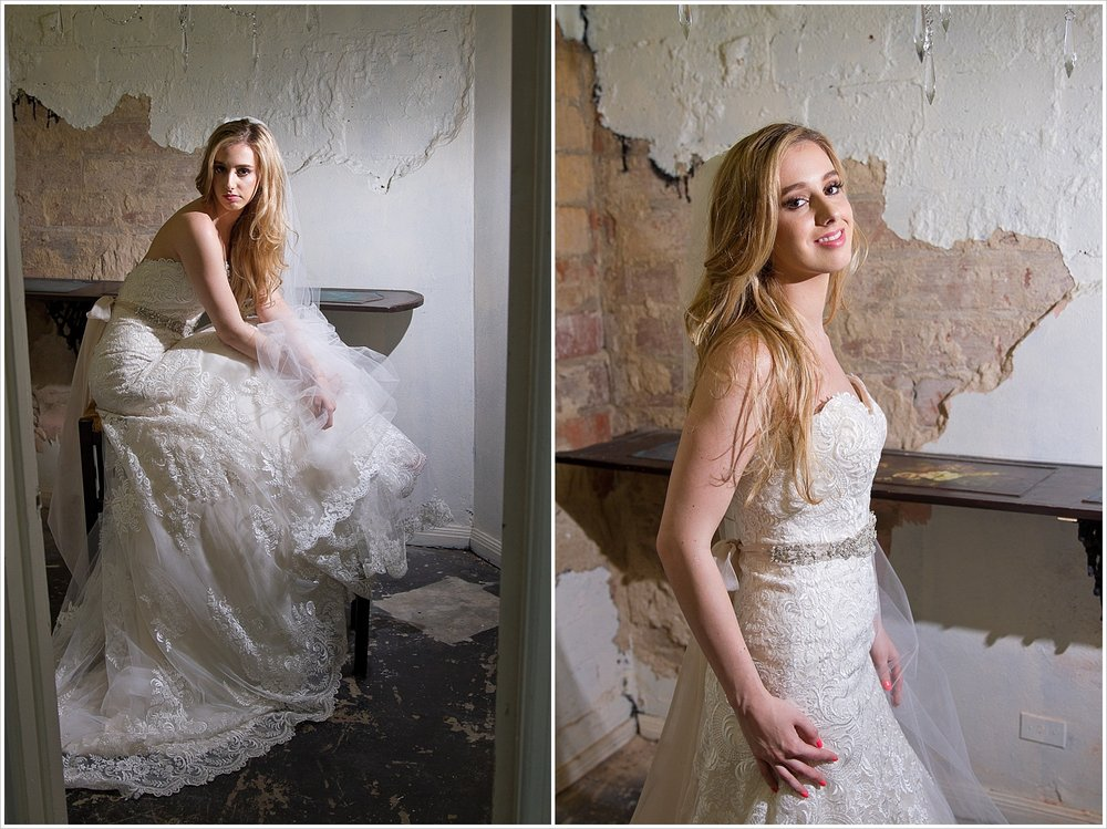 Model poses in gorgeous _______ wedding gown in the Hair & Beauty Art Studio in Waco, Texas. Photography by Jason & Melaina Photography, Texas wedding photographers. www.jasonandmelaina.com
