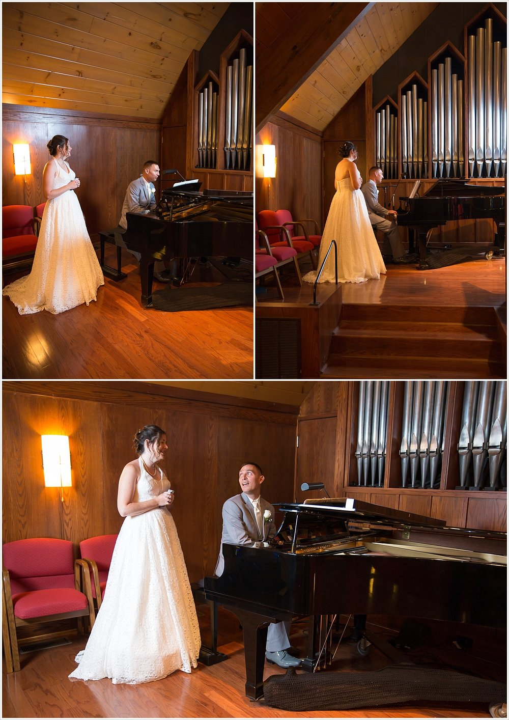 Groom plays for bride on the piano during their first look in the sanctuary of Central Presbyterian Church in Waco/Woodway, TX - Jason & Melaina Photography, www.jasonandmelaina.com
