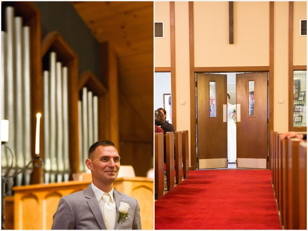 Groom waits for bride to walk down the aisle, summer church wedding in Central Presbyterian Church in Waco/Woodway, TX - Jason & Melaina Photography, www.jasonandmelaina.com