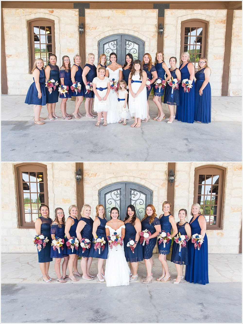 Bridal party, summer blush and navy wedding at Stone Hall at The Springs in McKinney, Texas, Jason & Melaina Photography, www.jasonandmelaina.com