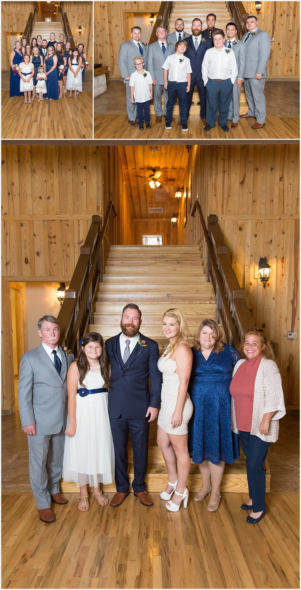 Groom poses with bridal party and family, summer blush and navy wedding at Stone Hall at The Springs in McKinney, Texas, Jason & Melaina Photography, www.jasonandmelaina.com