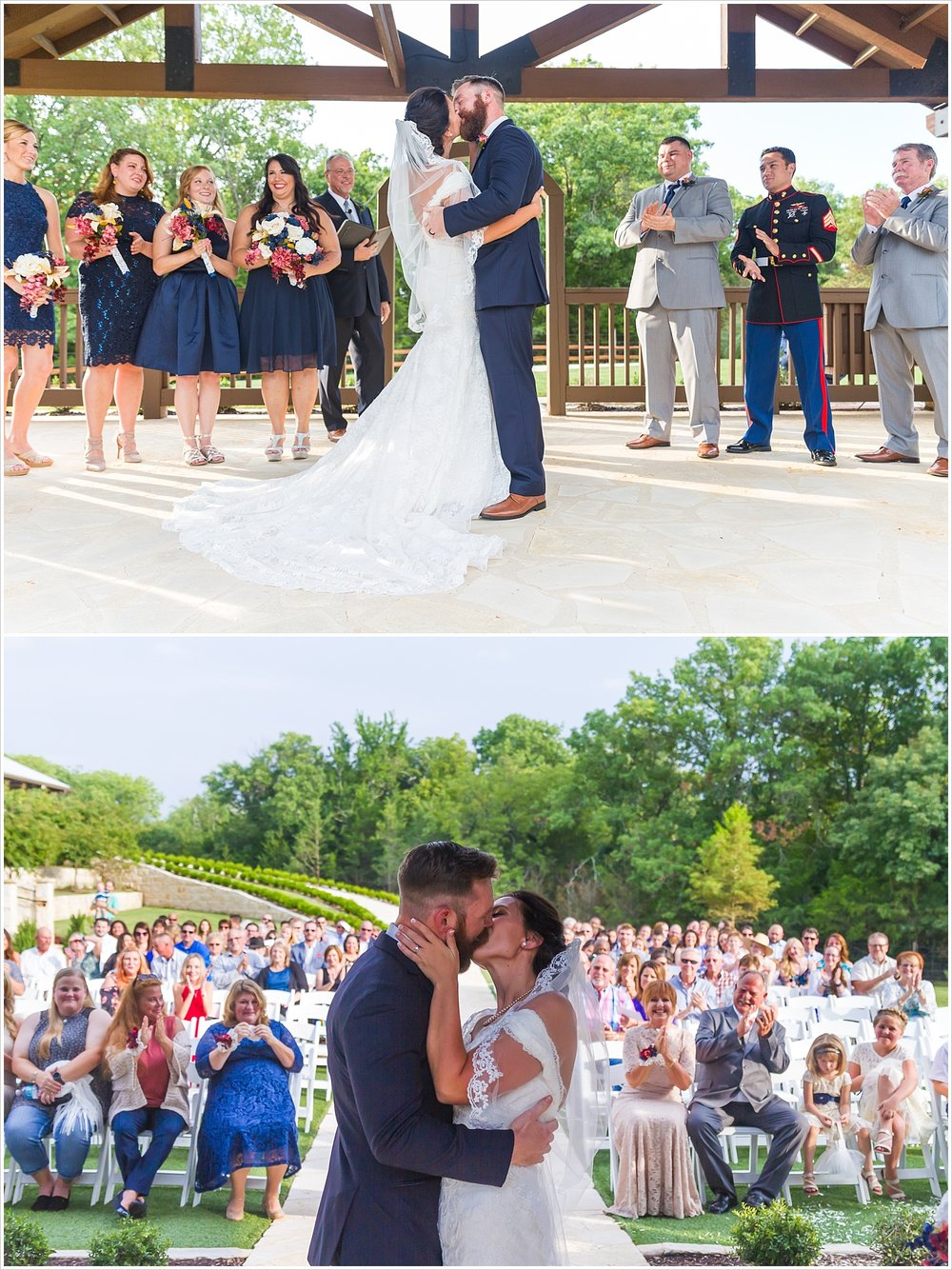 Bride and groom kiss at altar with audience in background, summer blush and navy wedding at Stone Hall at The Springs in McKinney, Texas, Jason & Melaina Photography, www.jasonandmelaina.com