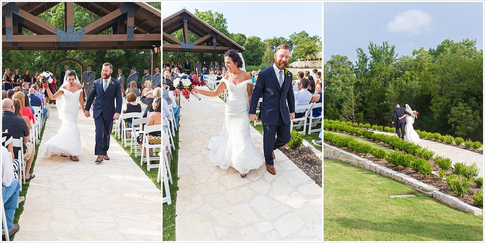 Bride dances up the aisle with groom, summer blush and navy wedding at Stone Hall at The Springs in McKinney, Texas, Jason & Melaina Photography, www.jasonandmelaina.com
