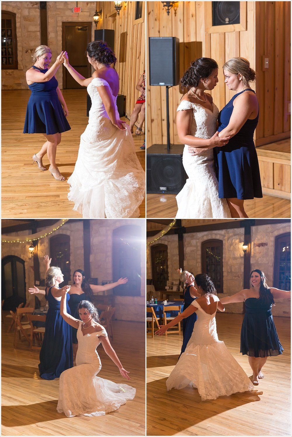 Bride dances with bridesmaids, Guests dancing during the reception, summer blush and navy wedding at Stone Hall at The Springs in McKinney, Texas, Jason & Melaina Photography, www.jasonandmelaina.com