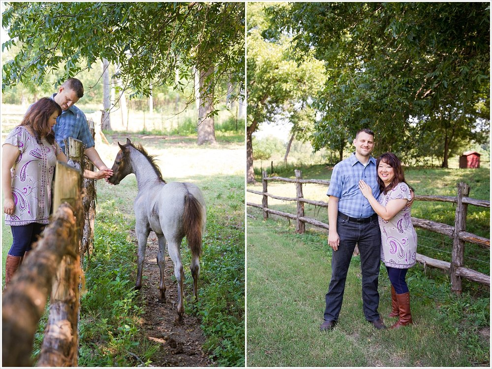 Charles & Alex pet a pony during their engagement portraits at Brazos Bluffs Ranch in Waco, Texas - Jason & Melaina Photography, www.jasonandmelaina.com