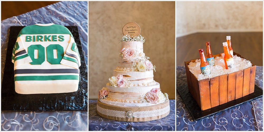 Dallas Stars groom's cake, Beer cooler groom's cake, 3 tiered cream bride's cake, Navy and blush Texas Reception at The Phoenix Ballroom, Jason & Melaina Photography - www.jasonandmelaina.com