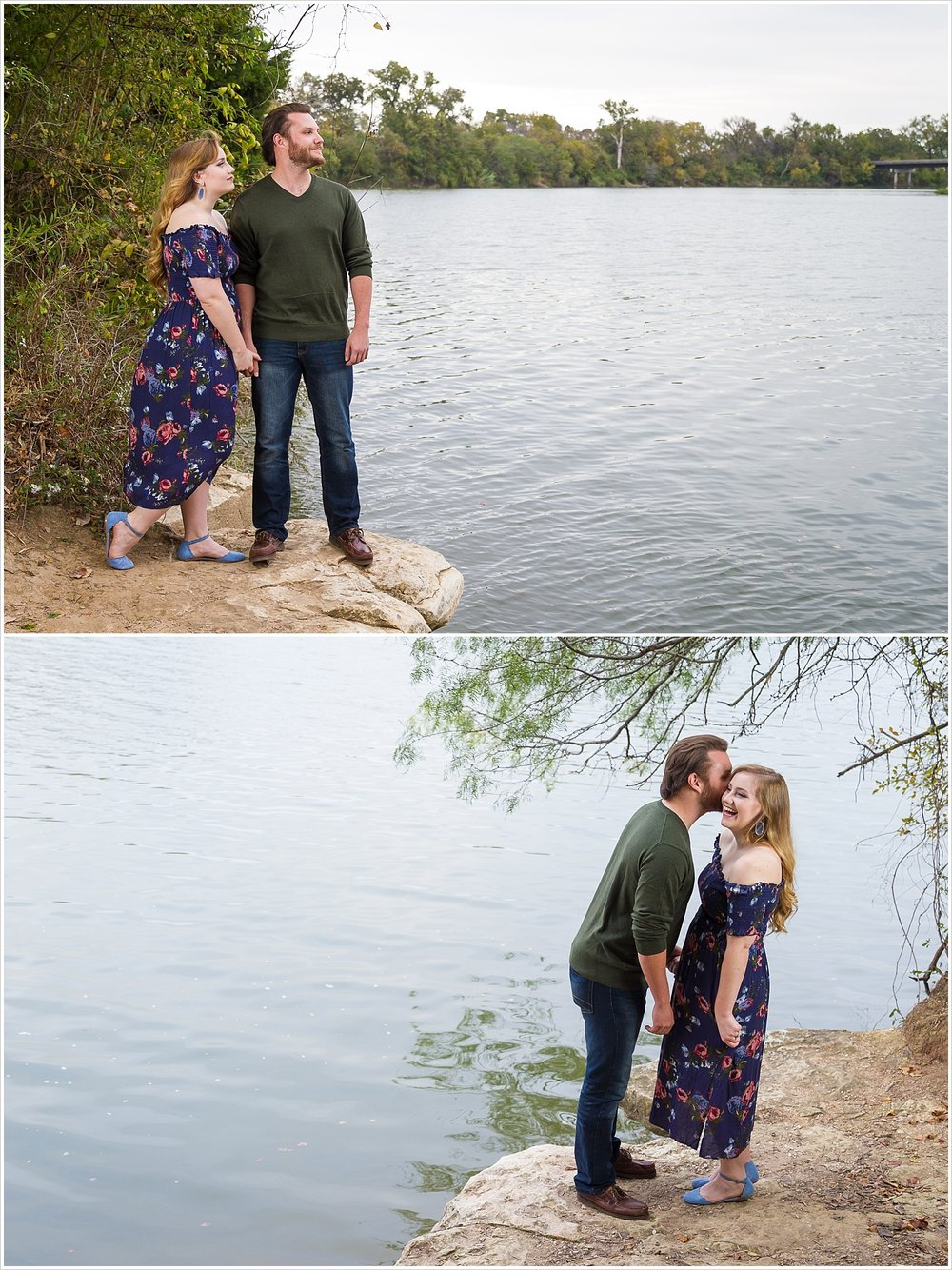 A couple laughs while whispering in each other's ear standing on the banks of the Brazos River in Waco, Texas for their engagement photos - Jason & Melaina Photography - www.jasonandmelaina.com