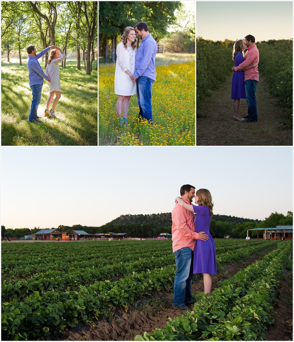 A couple dances in the sunlight and embraces in strawberry fields during their engagement photos in Marble Falls, Texas - Jason & Melaina Photography - www.jasonandmelaina.com
