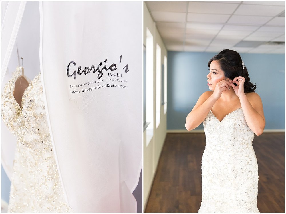 A bride gets into her beaded wedding gown from Georgio's Bridal Salon, Waco, Texas - Jason & Melaina Photography - www.jasonandmelaina.com