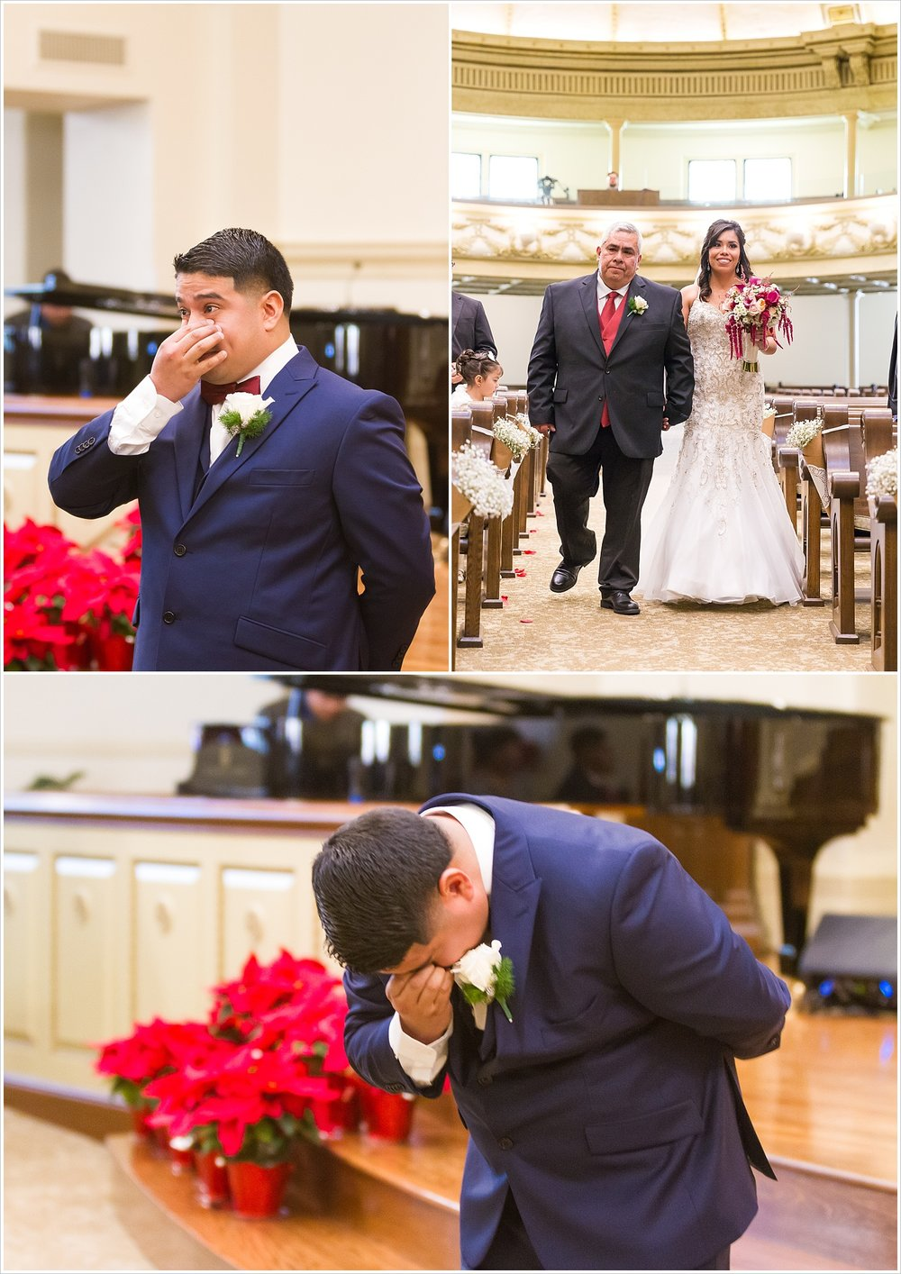 A groom cries when he sees his bride coming down the aisle at a wedding ceremony at FBC Waco - Jason & Melaina Photography - www.jasonandmelaina.com
