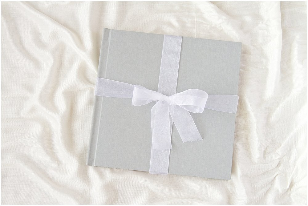 Heirloom linen wedding album with slate gray cover