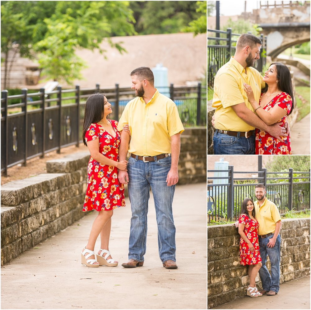 A woman looks into her fiance's face during their engagement session in Yettie Polk Park, Belton, Texas - Jason & Melaina Photography