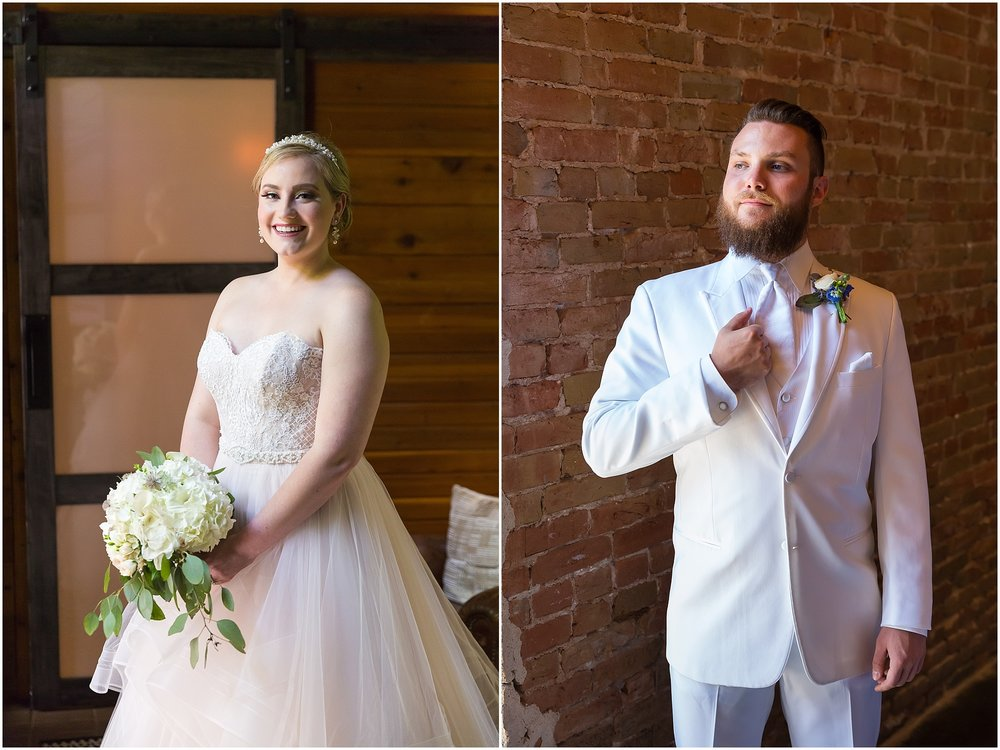 Bride in blush wedding gown, groom in white tux for their downtown Waco wedding - www.jasonandmelaina.com