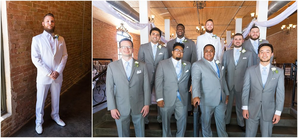 A groom and his groomsmen pose together at The Palladium in Downtown Waco - www.jasonandmelaina.com