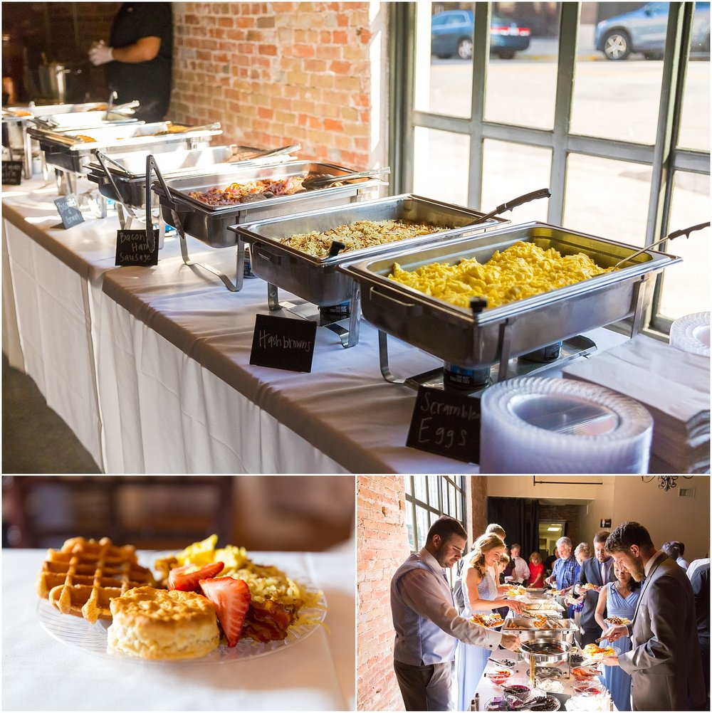 Breakfast buffet at Downtown warehouse wedding in Waco, Texas - www.jasonandmelaina.com