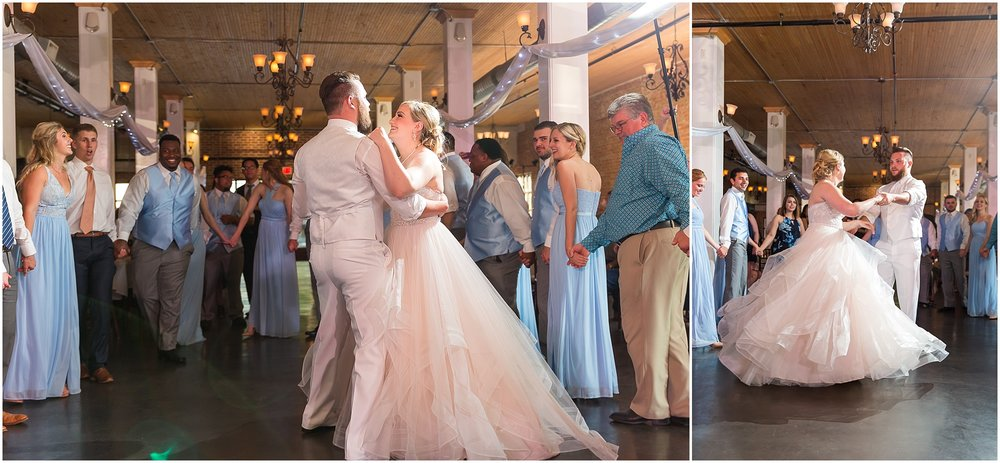 Bride and groom's first dance during their downtown warehouse wedding in Waco, Texas - www.jasonandmelaina.com