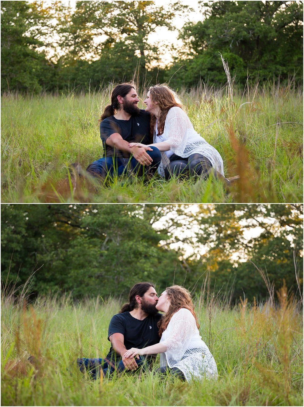 A couple sits in the tall grass in field at sunset during their engagement photos - Jason & Melaina Photography - www.jasonandmelaina.com