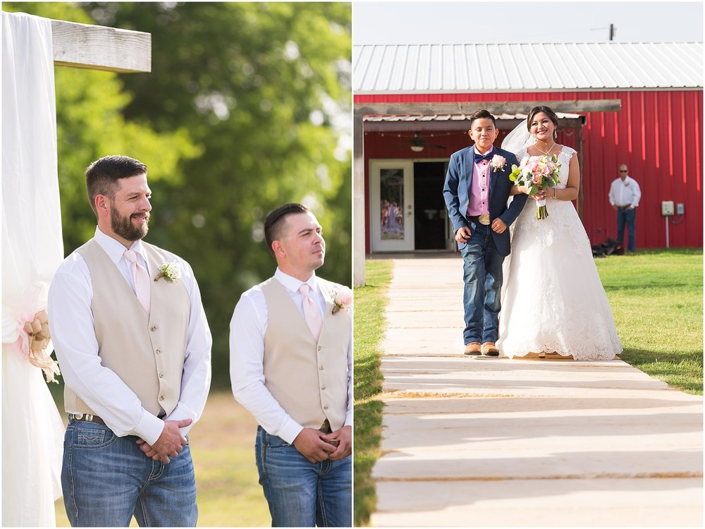 Groom smiles at his bride coming down the aisle during their outdoor wedding at Rustic Acres in Belton, Texas - Jason & Melaina Photography - www.jasonandmelaina.com