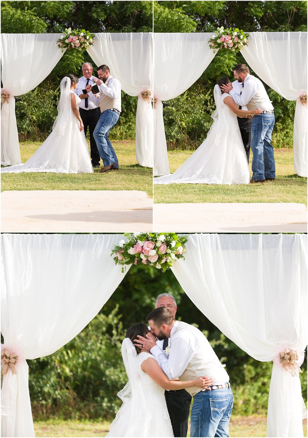 Groom kisses his bride at the end of their wedding ceremony in Belton, Texas - Jason & Melaina Photography - www.jasonandmelaina.com
