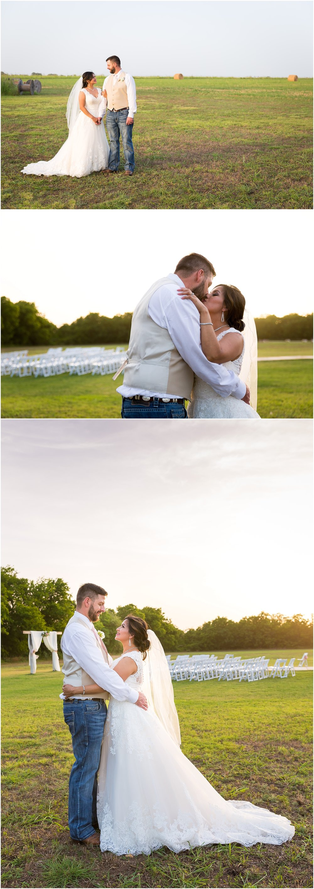 A couple embraces in a field with a Texas sunset behind them after their wedding ceremony in Belton, Texas - Jason & Melaina Photography - www.jasonandmelaina.com