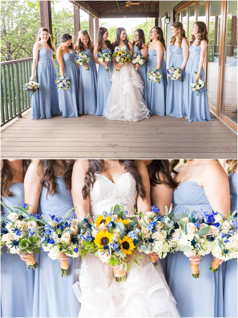 blue and white wedding bouquets - summer wedding at the Carleen Bright Arboretum in Waco, Texas - Jason & Melaina Photography - www.jasonandmelaina.com