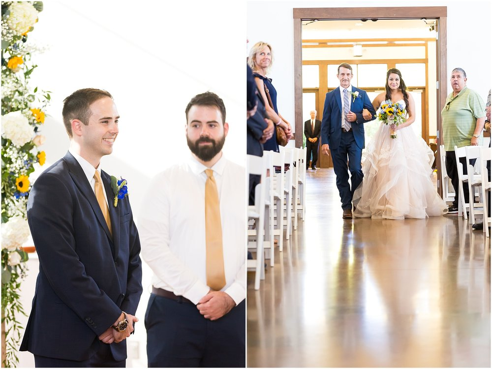A groom smiles when he sees his bride coming down the aisle - summer wedding at the Carleen Bright Arboretum in Waco, Texas - Jason & Melaina Photography - www.jasonandmelaina.com