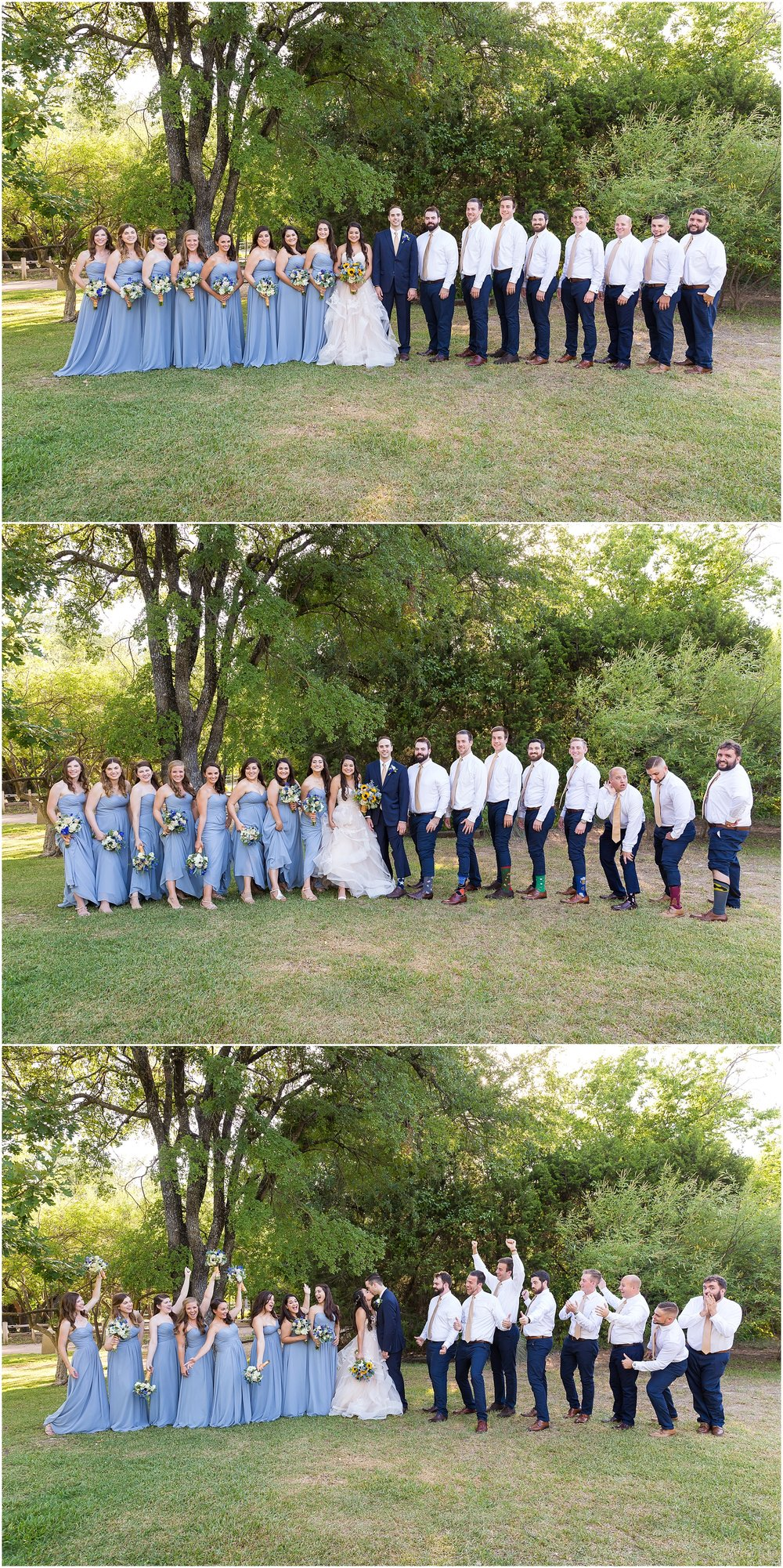 Pale blue bridesmaids gowns and navy slacks and yellow ties for groomsmen
