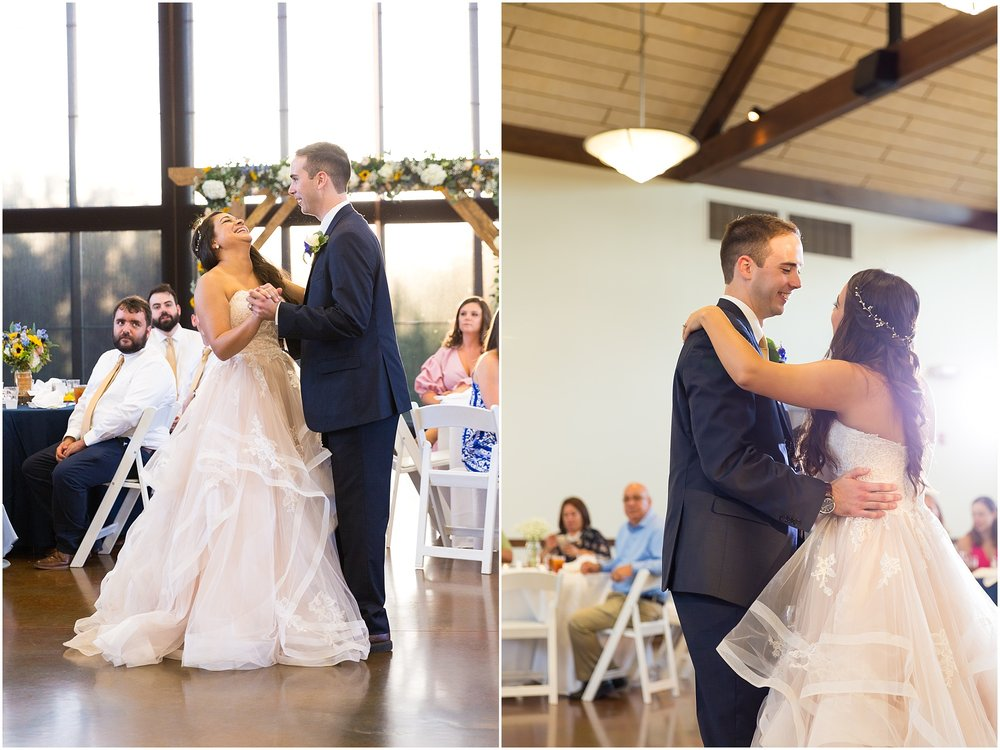A bride and groom's first dance in The Pavillion at the Carleen Bright Arboretum in Waco, Texas - Jason & Melaina Photography - www.jasonandmelaina.com