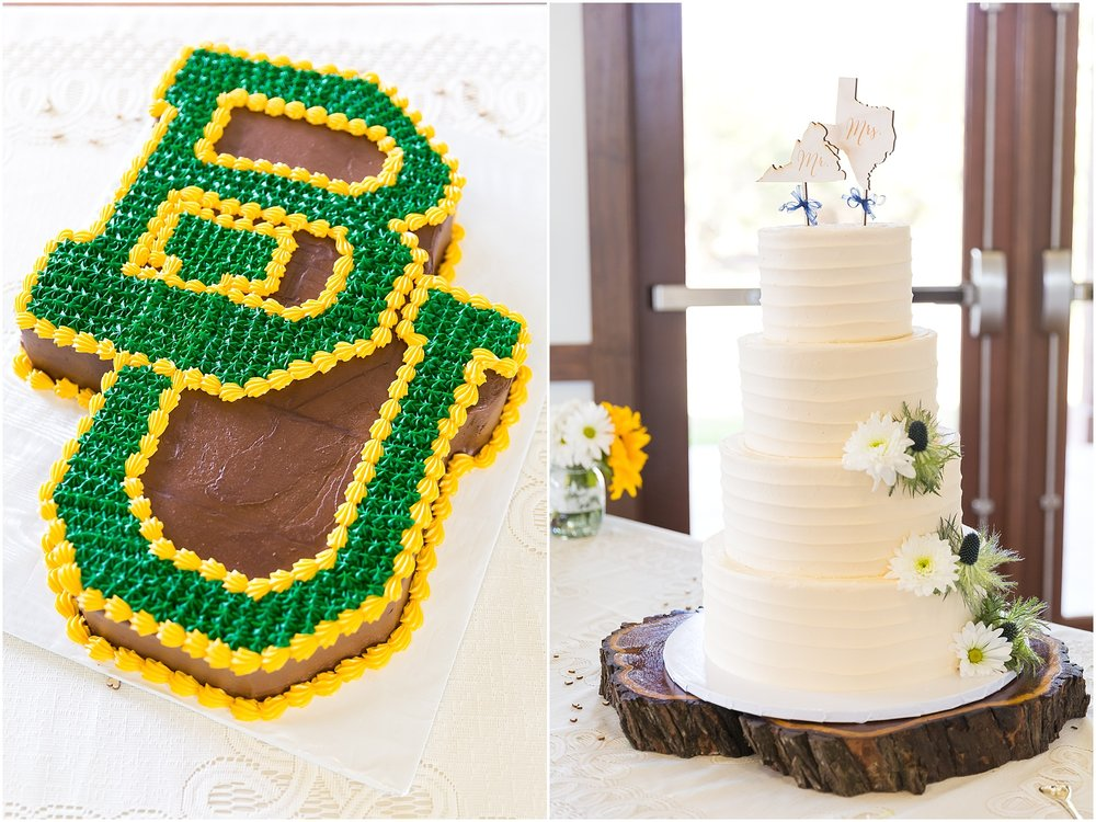 4-tiered white buttercream bridal cake and Baylor groom's cake by All Sugar'd Up in Waco, Texas - Jason & Melaina Photography - www.jasonandmelaina.com