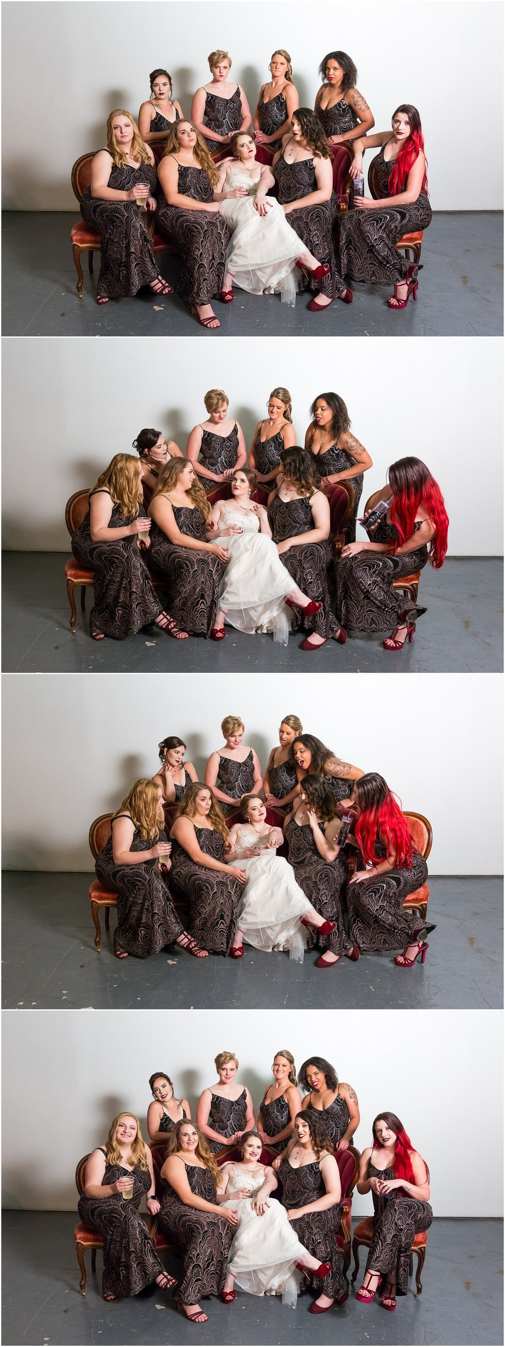 Bridal party pose elegantly on sitting lounge area - Gothic Gatsby Reception - The Eagle Historic Warehouse - Jason & Melaina Photography - http://jasonandmelaina.com