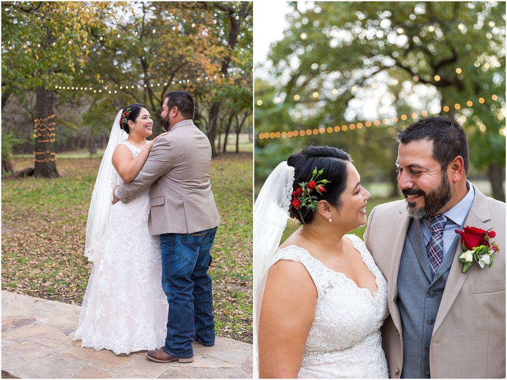 Groom and bride smile at one another after their ceremony - Dove Creek Ranch in Dublin, Texas - Jason & Melaina Photography - www.jasonandmelaina.com