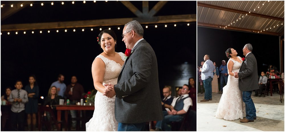 Bride dances with her dad - Dove Creek Ranch in Dublin, Texas - Jason & Melaina Photography - www.jasonandmelaina.com